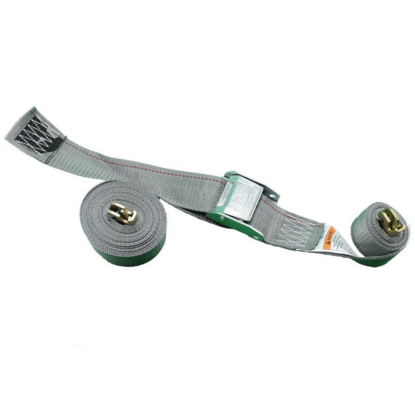 coiled grey spring loaded cambuckle strap 2500 pount capacity