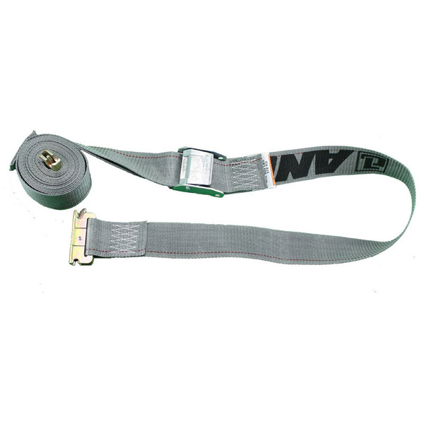 uncoiled grey spring loaded cambuckle strap 2500 pount capacity