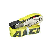 yellow ratchet strap with web keep and flat hooks